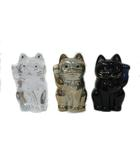 バカラ Baccarat 3個セット 招き猫 置物 フィギアオーメント ラッキーキャット クリア ゴールド ミッドナイトブルー
