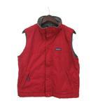 パタゴニア Patagonia アメリカ製 ナイロンベスト ボア ワンポイント ロゴ 赤 レッド XL レディース 子ども服