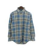 ラルフローレン RALPH LAUREN ネルシャツ 長袖 ボタンダウン チェック 刺繍 ポニー コットン 青 ブルー M