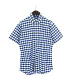 ラルフローレン RALPH LAUREN シャツ 半袖 ボタンダウン ギンガムチェック 刺繍 ポニー コットン 白 青 ホワイト ブルー S