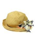 カシラ CA4LA ストローハット リボン レース 帽子 ベージュ M