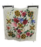シャネル CHANEL スカーフ シルク 花柄 フラワー チェーン 白系 ホワイト系 IBS67