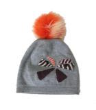 フェンディ FENDI イタリア製 ニット帽 ボンボン 帽子 リボン フォックスファー ウール グレー IBS67