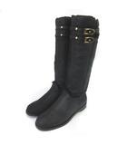 ジミーチュウ JIMMY CHOO レザー ロングブーツ ナッパレザー ボア ベルト 37.5 約24.5cm 黒 ブラック 靴