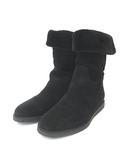 サルヴァトーレフェラガモ Salvatore Ferragamo MY EASE 1 ムートン ブーツ ショート フラット スエード 黒 ブラック  6 1/2 M