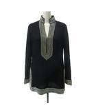 チュニック カットソー ミニ ワンピース ビジュー ラインストーン装飾 長袖 リネン 2 黒 ブラック IBS90