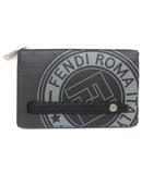 フェンディ FENDI 7VA350 A4BH F147G ローマン セレリア セカンドバッグ クラッチバッグ ポーチ FFロゴ スタンプ レザー 黒 ブラック グレー 鞄