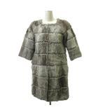 49アベニュー ジュンコシマダ 49AV. junko shimada 毛皮 コート ジャケット 五分袖 ノーカラー ラビットファー 38 グレー ベージュ ECR3