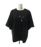 ダブルスタンダードクロージング ダブスタ DOUBLE STANDARD CLOTHING 19SS 0508081192 Tシャツ カットソー 五分袖 星 スター スパンコール F 黒 ブラック