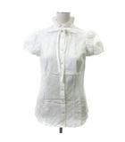シャツ ブラウス 半袖 フリルカラー 刺繍 リボン チェック コットン 38 白 ホワイト ECR4