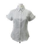 シャツ ブラウス 半袖 刺繍 ストライプ 38 白 ホワイト グレー ECR4