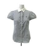 シャツ ブラウス 半袖 フリル 刺繍 ストライプ 38 白 ホワイト 紺 ネイビー ECR4