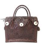 カービングトライブス グレースコンチネンタル CARVING TRIBES 美品 20AW ハンド バッグ カンパニュラ レザー 本皮 花柄 茶 ブラウン 鞄