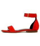 セリーヌ CELINE サンダル フラット ベルト スエード 赤 レッド 37 靴 ◇
