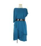 タエ アシダ TAE ASHIDA セットアップ 半袖 カットソー スカート ひざ丈 アシンメトリー ベルト付き 青 ブルー 9 ◆