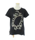 ヴィヴィアンウエストウッドレッドレーベル Vivienne Westwood RED LABEL 半袖 Tシャツ 箔 プリント イレギュラーヘム スリット 黒 ブラック 2