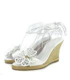 セリーヌ CELINE サンダル ウエッジソール エスパドリーユ レザー 白 ホワイト 38 靴