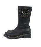 ディー&ジー ジュニア D&G JUNIOR ブーツ サイドジップ スタッズ レザー 黒 ブラック 31 IBS1 ☆AA★ 靴
