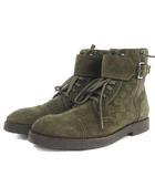 ルイヴィトン LOUIS VUITTON ブーツ ショート ダミエ ベルト スエード カーキ グリーン系 緑系 7 1/2 シューズ 靴 IBS1