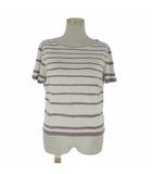 エルメス HERMES マルジェラ期 カットソー Tシャツ 半袖 ボーダー ストレッチ レーヨン 白 紫 ME