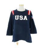 ボートメイクニュークローズ VOTE MAKE NEW CLOTHES トレーナー 七分袖 スウェット USA ワッペン 紺 ネイビー F