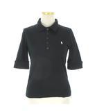 ラルフローレン RALPH LAUREN ポロシャツ 5分袖 ワンポイント刺繍 クロ ブラック M