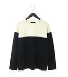 レイジブルー RAGEBLUE セーター ニット 長袖 クルーネック 配色 ウール混 白 黒 紺 ホワイト ブラック ネイビー M