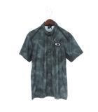 オークリー OAKLEY 18SS BARK WIND TRACKS SHIRTS ポロシャツ 半袖 ボタンダウン 総柄 ゴルフウエア 緑 黒 ブラック M 434187JP
