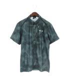 オークリー OAKLEY 18SS BARK WIND TRACKS SHIRTS ポロシャツ 半袖 ボタンダウン 総柄 ゴルフウエア 緑 黒 ブラック L 434187JP
