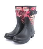 ハンター HUNTER ORIG SHORT CANVAS JUNGLE PRINT レインブーツ 長靴 WFS1000CJP アウトドア 黒 ブラック UK5 シューズ 靴