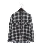 ナンバーナイン NUMBER (N)INE 08AW ポートランド期 バンドカラーシャツ カットオフ チェック コットン F08-NS010B グレー 白 ホワイト 2 ◎