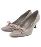 ダイアナ DIANA パンプス スクエアトゥ リボン エナメル レザー 茶系 ブラウン系 22 シューズ 靴