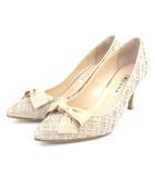 ダイアナ DIANA パンプス ツイード リボン ピンクベージュ 22.5 シューズ 靴