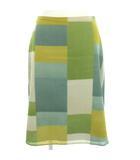 ホコモモラ JOCOMOMOLA スカート ひざ丈 配色 緑 からし色 ベージュ 40