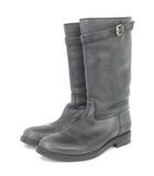 グッチ GUCCI ブーツ ロング 295629 レザー ムートン 黒 ブラック 8 シューズ 靴