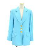 クリスチャンディオール Christian Dior テーラードジャケット ミドル シングル 3B リネン 水色 ライトブルー 9