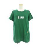 ダブルスタンダードクロージング ダブスタ DOUBLE STANDARD CLOTHING Tシャツ カットソー 半袖 ロゴ 刺繍 プリント ダメージ加工 コットン混 モダール BIRD 緑 グリーン 38