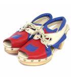 ツモリチサト TSUMORI CHISATO サンダル プラットフォーム オープントゥ レースアップ レザー 天然皮革 ネコ ベージュ 青 赤 03 靴 シューズ 〓