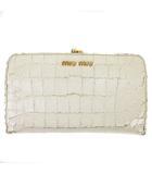 ミュウミュウ miumiu 長財布 二つ折り がま口 レザー クロコダイル型押し 5M1120 白 ホワイト