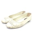 ルイヴィトン LOUIS VUITTON パンプス ローヒール ラウンドトゥ 0097 レザー 白系 ホワイト系 36.5 シューズ 靴
