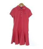 ポロ ラルフローレン POLO RALPH LAUREN ポロシャツ ワンピース ロング丈 半袖 コットン 刺繍 フレア M ピンク ■SM