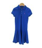 ポロ ラルフローレン POLO RALPH LAUREN ポロシャツ ワンピース ロング丈 半袖 コットン 刺繍 フレア M 青 ブルー ■SM