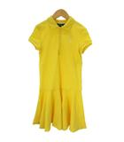 ポロ ラルフローレン POLO RALPH LAUREN ポロシャツ ワンピース ロング丈 半袖 コットン 刺繍 フレア M 黄色 イエロー ■SM