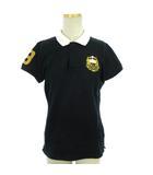 ラルフローレン RALPH LAUREN GOLF ゴルフ ポロシャツ 半袖 鹿の子  ロゴ 刺繍 ワンポイント 黒 白 ブラック ホワイト M