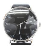 イッセイミヤケ ISSEY MIYAKE 美品 腕時計 Fシリーズ エフ 岩崎一郎 デザイン クォーツ 三針 NYAJ002 黒 ブラック ■SM