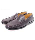 トッズ TOD'S ローファー スクエアトゥ ペニー コイン レザー 茶 ブラウン シューズ 靴 7.5 ■SM