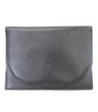 イヴサンローラン YVES SAINT LAURENT クラッチバッグ レザー ロゴ 型押し 黒 ブラック 鞄 ☆AA★
