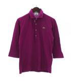 ラコステ LACOSTE ポロシャツ 七分袖 コットン 鹿の子 裏ストライプ ピンク 3 ■SM
