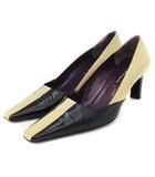 ブルーノマリ BRUNO MAGLI パンプス スクエアトゥ レザー ベージュ 黒 ブラック 36 靴