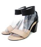 クロエ CHLOE サンダル アンクルストラップ チャンキーヒール レザー ピンクベージュ 黒 ブラック 38 靴 ■SM